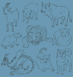Bull-cat-dog-goat-dragon-pig-rat-sheep-tiger vector