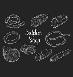 Butcher shop meat sausages sketch icons vector