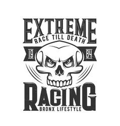car races hotrod or hot rod skull t shirt print vector image