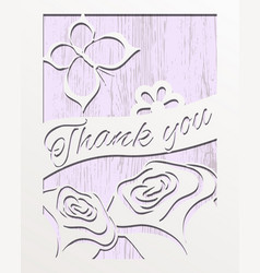 Card design thank you with roses vector