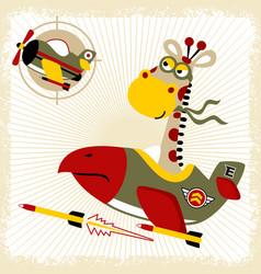 Cartoon giraffe on aircraft war vector