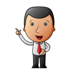 cartoon happy businessman pointing his finger up vector image