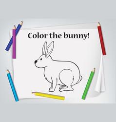 Children bunny coloring worksheet vector