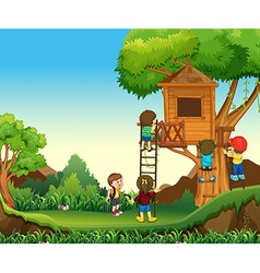 Children climbing up the treehouse vector image