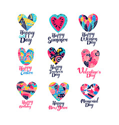 Collection of greeting cards for various holidays vector
