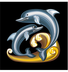 collection of mascots statuette dolphins vector image