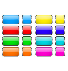 colored rectangle glass 3d buttons with metal vector image