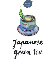 cup of japanese green tea with green leaf vector image