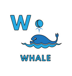 Cute cartoon animals alphabet whale vector