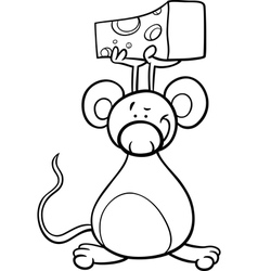 cute mouse with cheese coloring page vector image