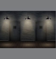 Dark brick wall and prison or interior vector