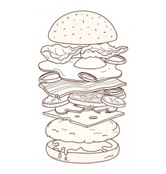 delicious hamburger with layers or ingredients vector image