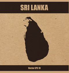 detailed map of sri lanka on craft paper vector image