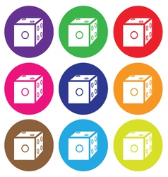 Dice icon color set vector