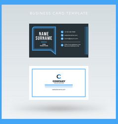 Double-sided blue business card template vector