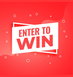 Enter to win red background for promotion purpose vector