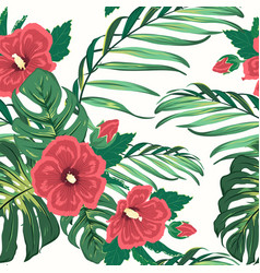 Exotic tropical floral greenery seamless pattern vector