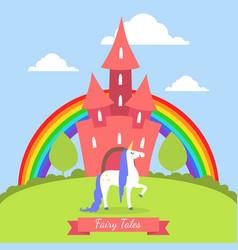 fairy tales banner template cute magic castle vector image