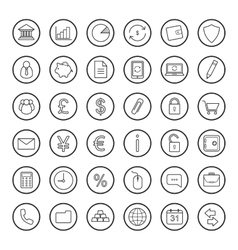 Finance and banking linear icons set vector image