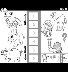 find biggest and smallest animal cartoon task vector image