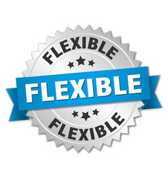 Flexible round isolated silver badge vector