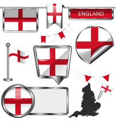 glossy icons with flag of england united kingdom vector image