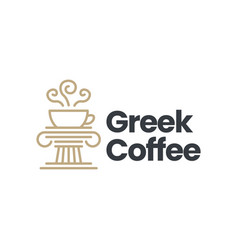 greek coffee pillar column ionic logo icon vector image