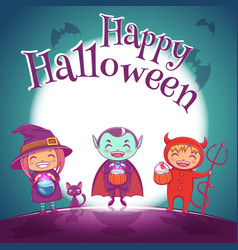 Halloween poster with kids in costumes of witch vector