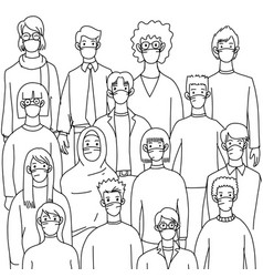 Hand drawn people in white medical face vector