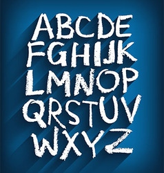 Handwritten English alphabet and a blue background vector image