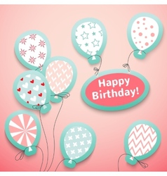 Happy birthday retro postcard with pattern vector