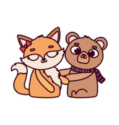 happy valentines day cute animals bear and female vector image