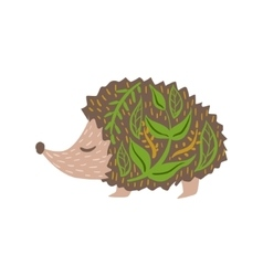 Hedgehog Relaxed Cartoon Wild Animal With Closed vector