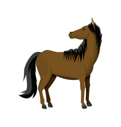 horse cartoon farm mammal animal icon vector image