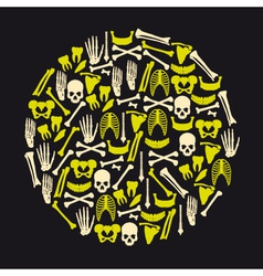 Human bones icons in big yellow circle eps10 vector