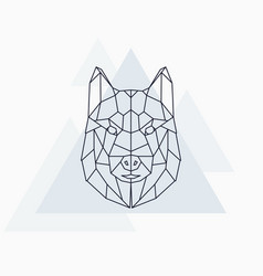 husky dog abstract geometric animal vector image