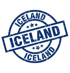 Iceland blue round grunge stamp vector