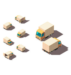 isometric 3d set small shipment truck for delivery vector image