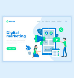 Landing page template digital marketing concept vector