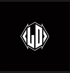 Ld logo monogram with shield shape designs vector