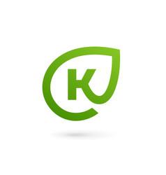 letter k eco leaves logo icon design template vector image