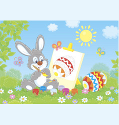 little easter bunny painter vector image