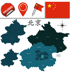 map of beijing with districts vector image