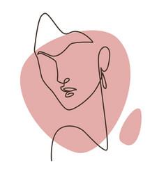 minimalist woman portrait continuous line picture vector image