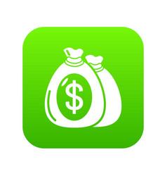 money bag icon green vector image