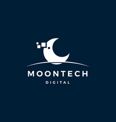 moon tech digital logo icon vector image