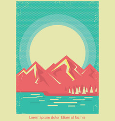 Mountain lake nature landscape on retro poster vector