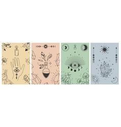 Mystical boho posters esoteric line prints vector