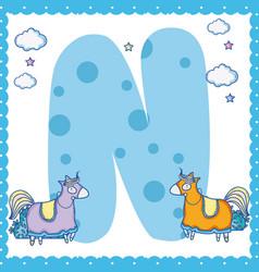 N alphabet letter for kids vector