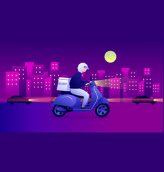 Night food delivery service scooter vector